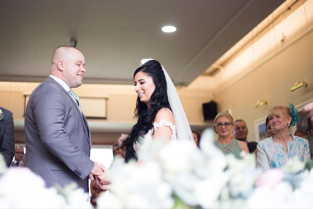 Bride and groom during Liverpool Cricket Club wedding ceremony
