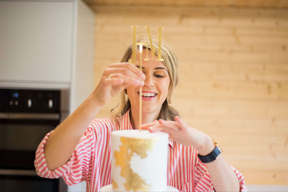 Elizabeth Harris Cakes Personal Branding Photography cake topper on gold wedding cake