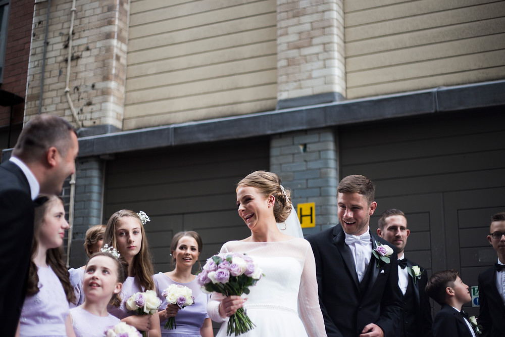 Bridal party on Matthew Street Hard Days Night Hotel Wedding