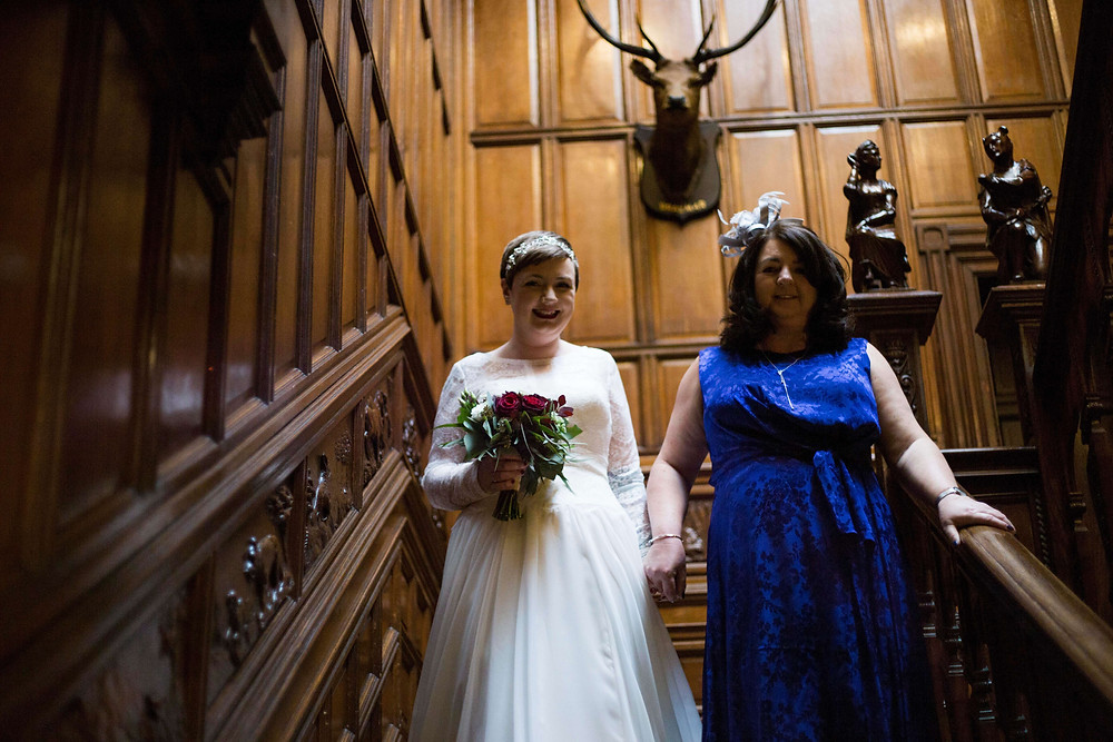 Bride and mum at Thornton Hall Hotel wedding