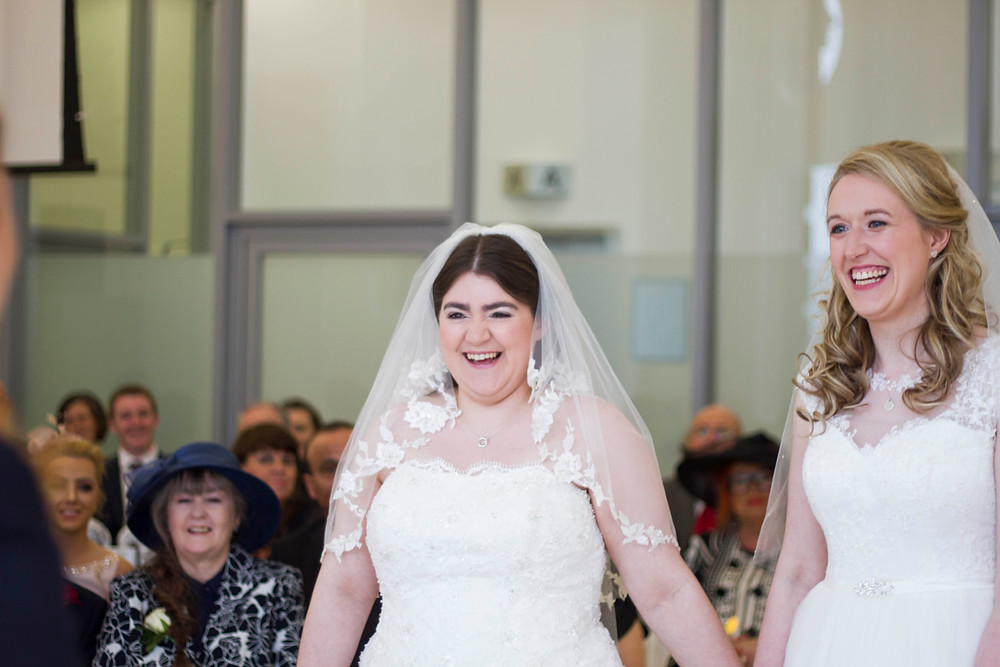 Two happy brides at their Liver building wedding