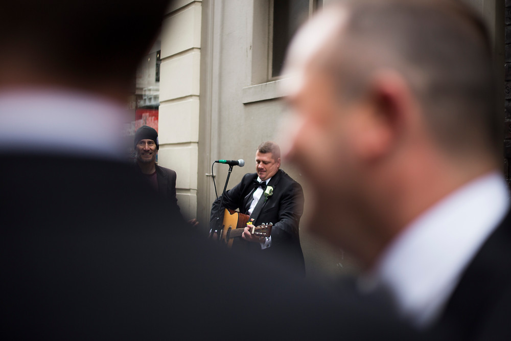 Groomsman on Matthew Street, Hard Days Night Hotel wedding