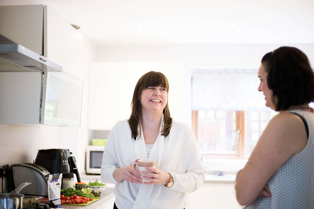 Health coach and client cooking Personal branding photography Liverpool