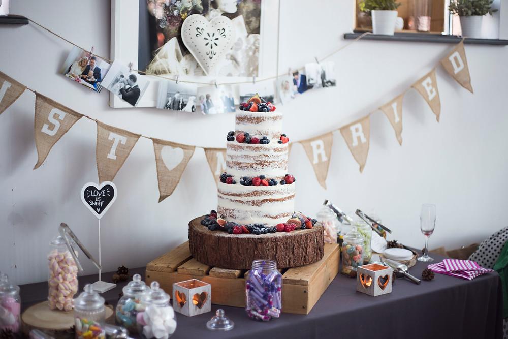 Gorgeous semi-naked wedding cake Liverpool Wedding