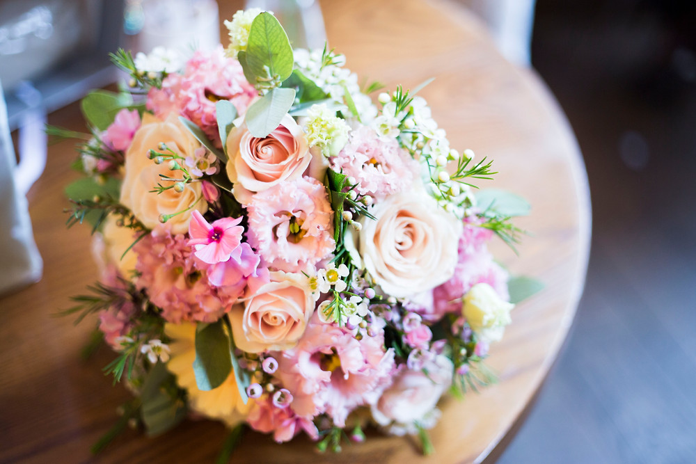Soft pink and peach bridal bouquet Liverpool Wedding