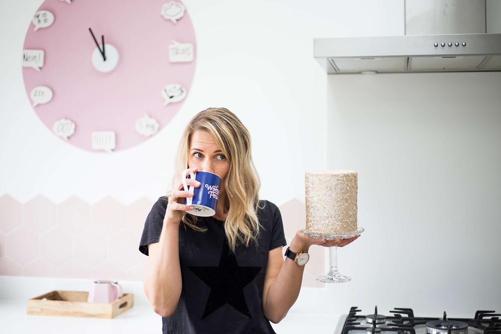 Elizabeth Harris Cakes Personal Branding Photography fun headshot with cake