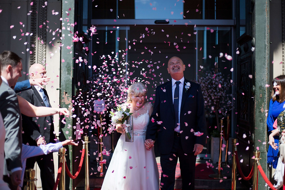 Confetti outside St George's Hall Liverpool Wedding