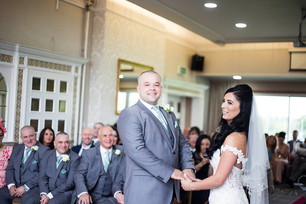 Bride and groom during their Liverpool Cricket Club wedding ceremony