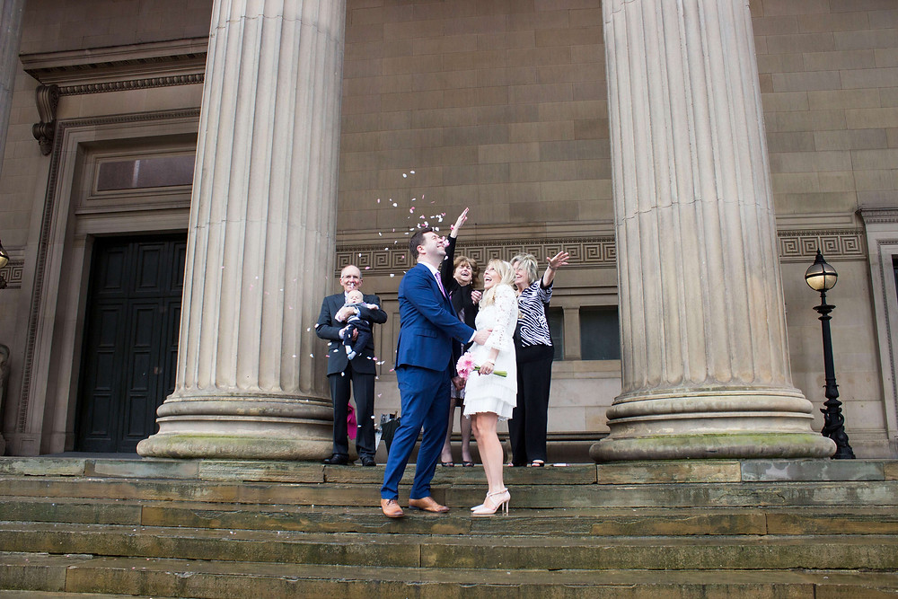 Confetti outside St Georges Hall Liverpool