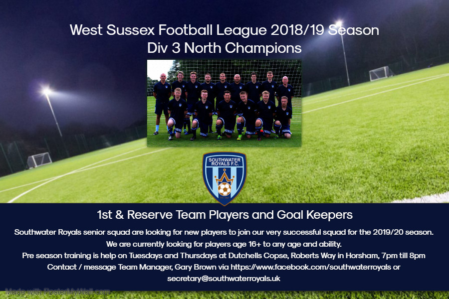 1st Team Recruitment May 2019 Southwater Royals FC- Made with PosterMyWall