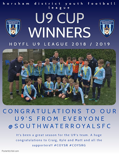U9's HDYFL Cup Winners 2018 - 2019 Season
