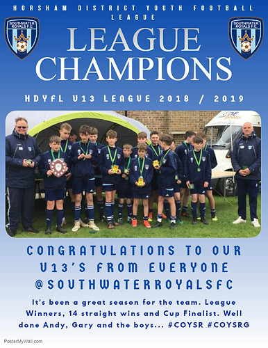 U13 HDYFL League Champions 2019 - 2020 Season