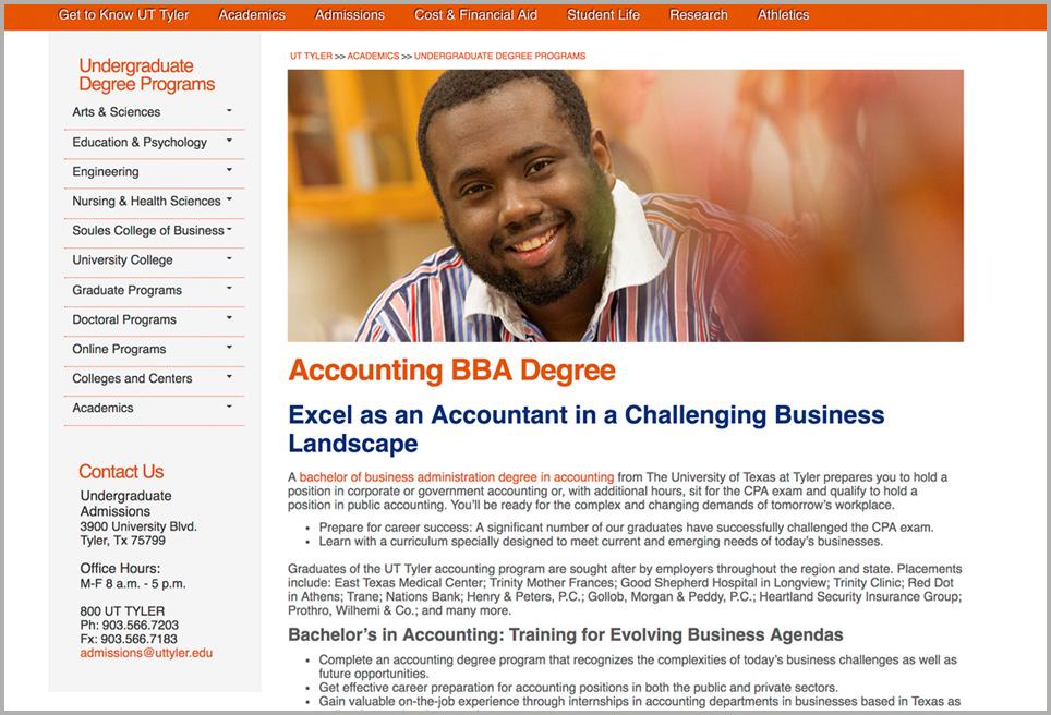 UT Tyler Academic Landing Page