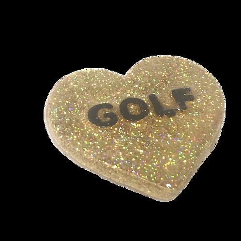 Gold Golf Conversation Heart