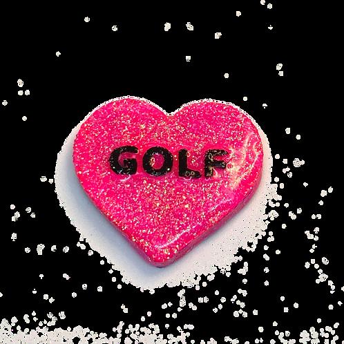 Pink Golf Conversation Heart