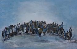Zuschauer blaugrau