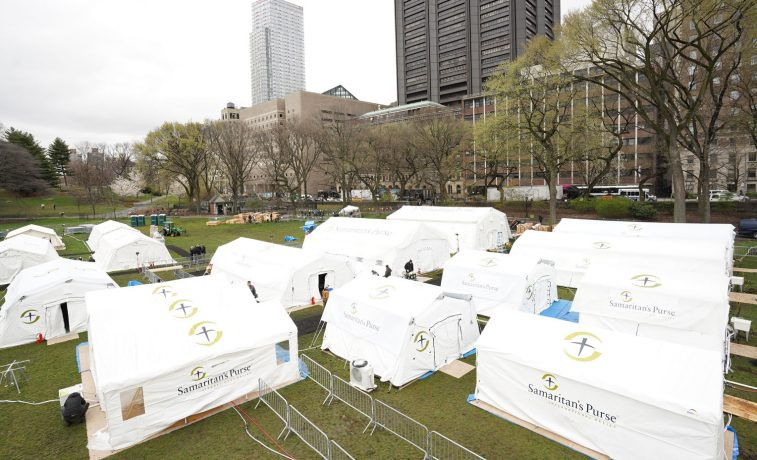 Makeshift Hospital Tents Set Up in Central Park