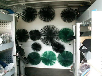Inside of Philip Lowe chimney sweeps van for sweeping chimneys in Cardiff and South Wales. It shows some of the chimney sweeping equipment I have, the care I take and the cleanliness of my chimney sweeping service.