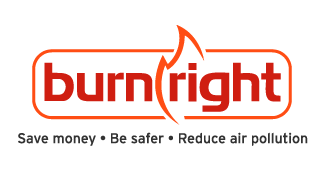 logo for burnright a free information website with videos on burning wood.