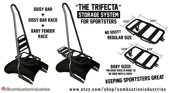 Harley Sportster TRIFECTA Rack and Sissy Bar with fold down rack (fits '94 up)
