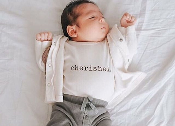 "Organic ""Cherished"" Infant Snappy Suit"