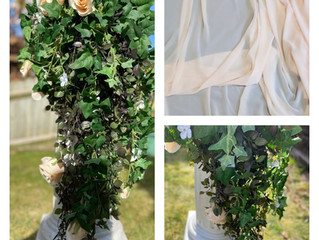 NEW peach chiffon draped mandap with trailing ivy decor coming soon...