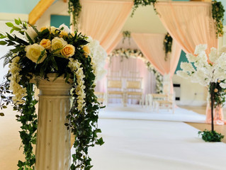 Introducing our NEW Peach Draped Mandap with trailing ivy decor...