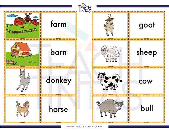 Farm Animals Memory Game (English, color)