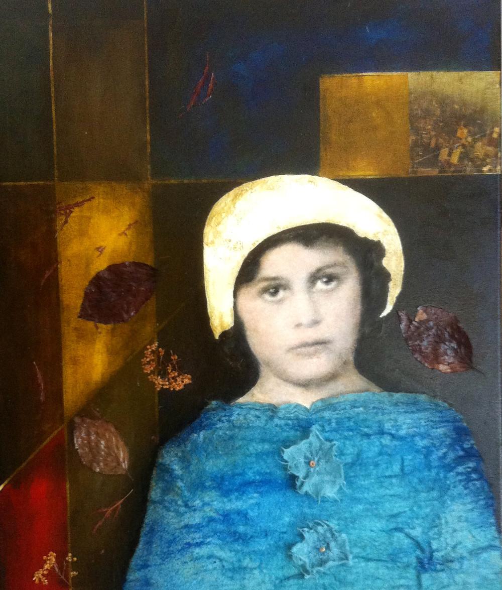 """The traveler girl (La niña viajera)"". Miralda Reyes. Acrílico sobre lienzo, 20' x 25' Mixed media."