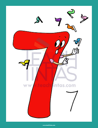 Numbers from 0 to 9 (color flashcards)