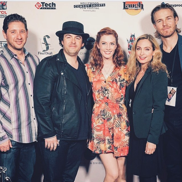 "Cast and crew of ""Not Our Aiden"" attend Hollywood Comedy Shorts with ""Not Our Aiden"".  (From Left) Writer Dax Shelby.  Actors Evan O'Brien, Kinkaid Walker, Robyn Cohen. Director Jilon Vanover"