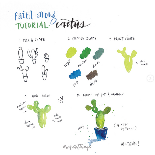 Paint Along Cactus Tutorial