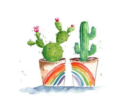 Watercolor Pride Cacti Tutorial