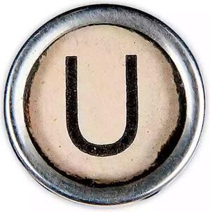 "Iconography of a manual typewriter keypad letter ""U"" - for Underline"