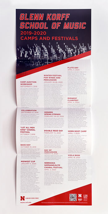 """Photo of fully opened brochure on a white background. The title, in red text, reads """"Glenn Korff School of Music 2019-2020 Camps and Festivals."""" The rest of the page contains a 3-column list of events and a short description for each one."""