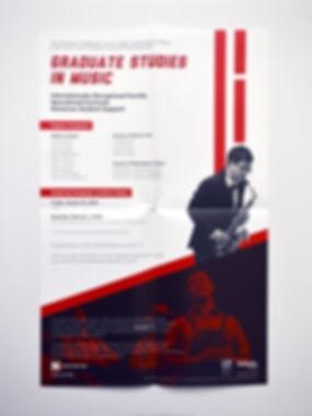 "Photo of a poster with a white background, black and white photos, and red rectangles. The title reads ""Graduate Studies in Music."""