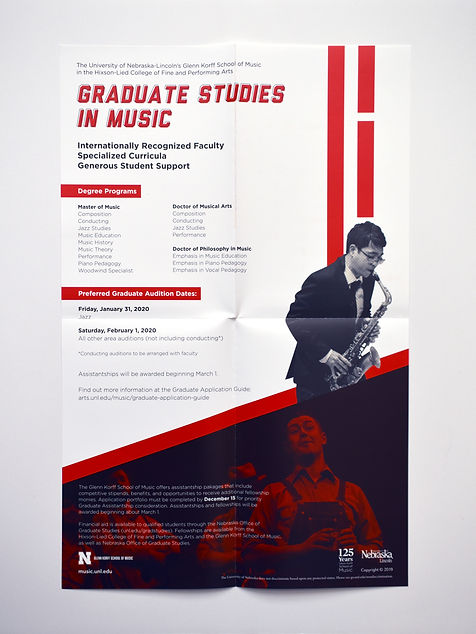 """Photo of a poster with a white background, black and white photos, and red rectangles. The title reads """"Graduate Studies in Music."""""""