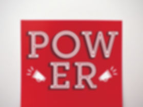 """Detail shot of a panel of the invitation. The white text on a red background reads, """"POWER."""" There are two megaphone silhouettes on either side of the letters."""