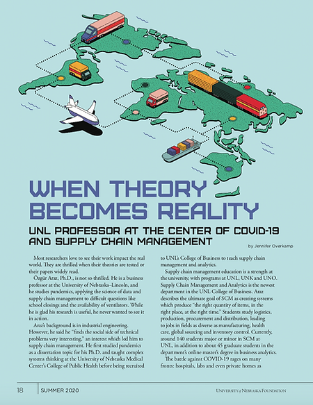 """Image of a magazine page. The top of the page contains an illustration of Earth's continents and various transportation vehicles from an isometric viewpoint. The article headline reads, """"When Theory Becomes Reality."""" The subheadline reads, """"UNL Professor at the Center of COVID-19 and Supply Chain Management."""""""