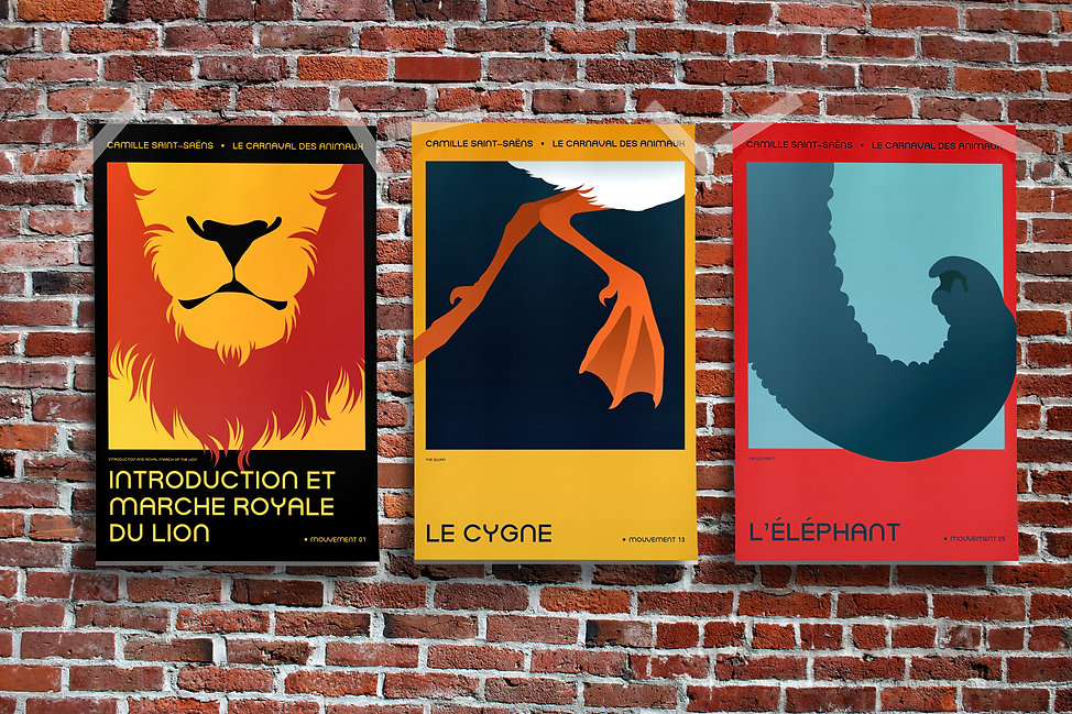 Mockup of three posters taped to a brick wall. The illustrations on the posters show a lion's muzzle, a swan's feet, and an elephant's trunk.