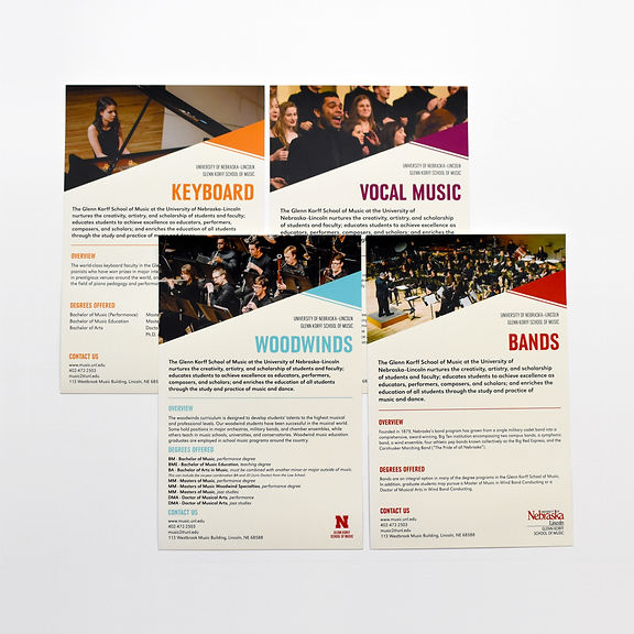 "Photo of four half-page handouts on a white background. The titles of the pages read ""Keyboard"" in orange text, ""Vocal Music"" in purple text, ""Woodwinds"" in blue text, and ""Bands"" in red text."