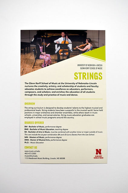 "Photo of half-page handout on a white background. Title, in green text, reads ""Strings."" A photo at the top of the page shows a string trio."