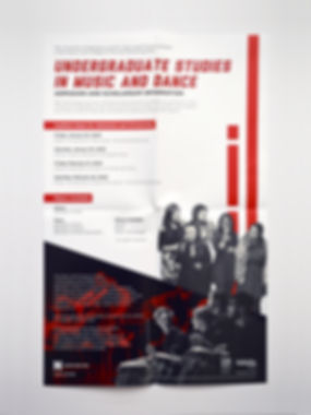 "Photo of a poster with a white background, black and white photos, and red rectangles. The title reads ""Undergraduate Studies in Music and Dance."""