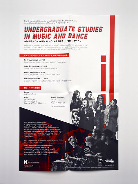"""Photo of a poster with a white background, black and white photos, and red rectangles. The title reads """"Undergraduate Studies in Music and Dance."""""""