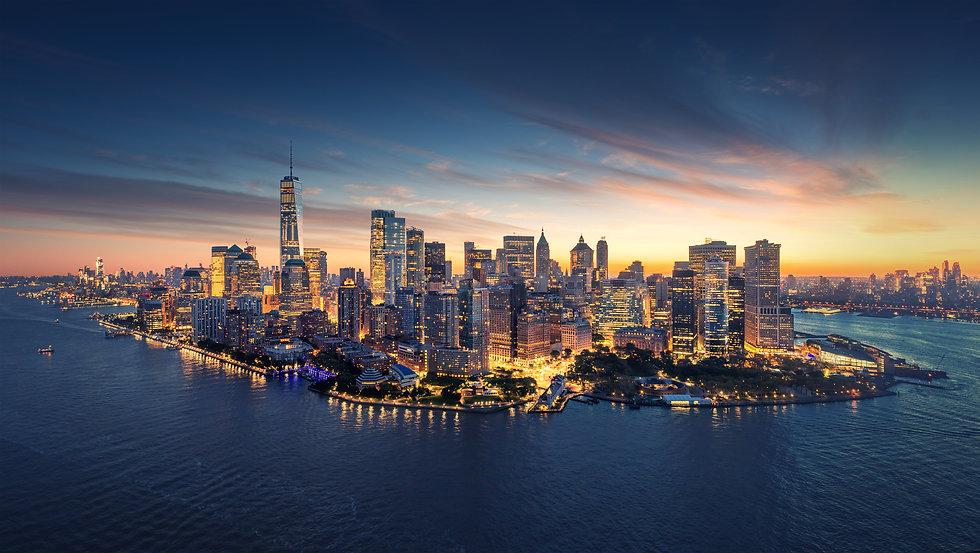 New York City panorama skyline at sunris