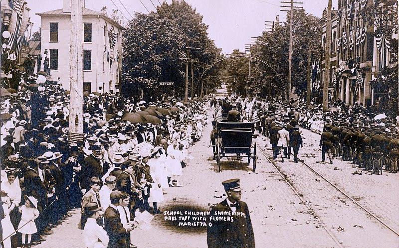 Taft riding up Putnam Street
