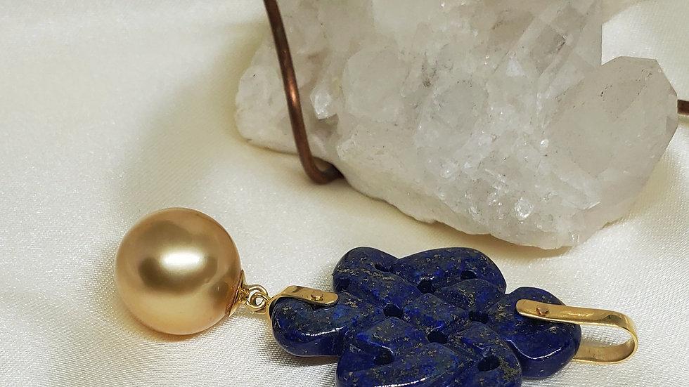 Lucky Blue Lapiz Lazuli Mystic Knot with Golden South Sea Pearl Pendant