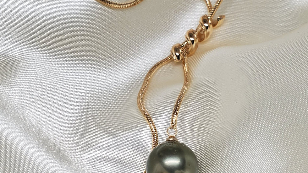 Multicolored Two Pearl Lariat Necklace