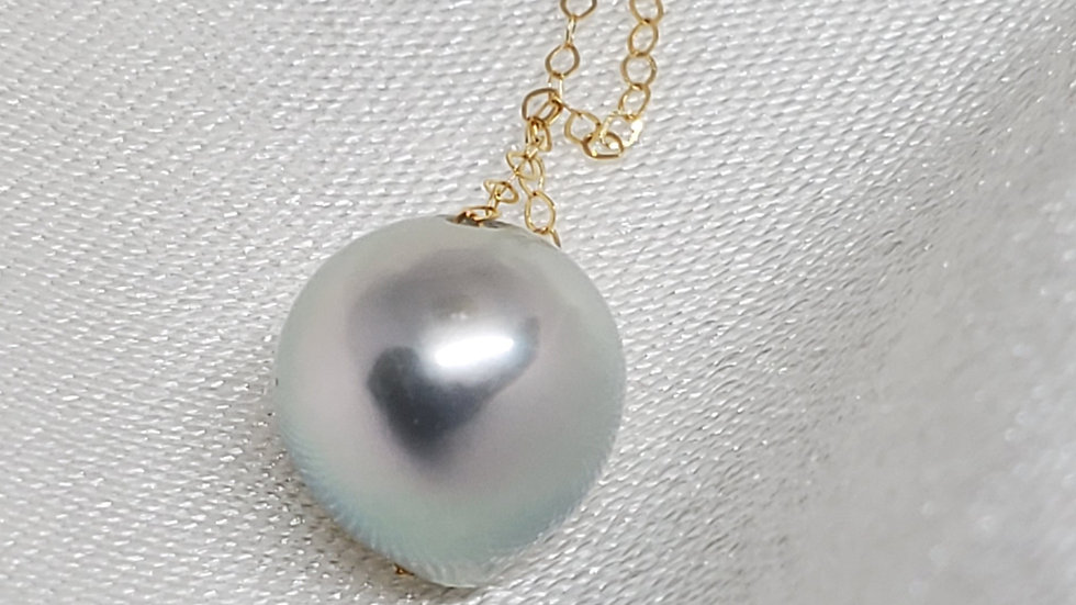 Single Bluish White Pearl Slider Necklace