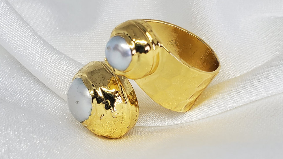 Brass Freshwater Pearl Ring